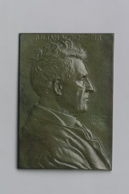 John Flanagan (American, 1865-1952). <em>Portrait Plaque of Julian Alden Weir</em>, 1918. Bronze, 5 1/4 x 3 5/8 x 3/16 in. (13.3 x 9.2 x 0.5 cm). Brooklyn Museum, Robert B. Woodward Memorial Fund, 22.1958.4. Creative Commons-BY (Photo: Brooklyn Museum, 22.1958.4.jpg)