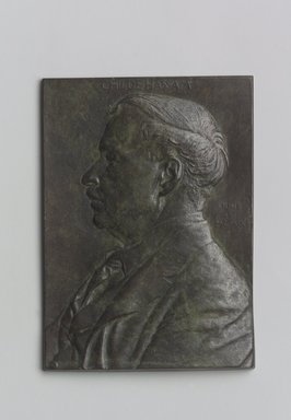 John Flanagan (American, 1865-1952). <em>Portrait Plaque of Childe Hassam</em>, 1909. Bronze, 5 1/2 x 3 15/16 x 5/16 in. (14 x 10 x 0.8 cm). Brooklyn Museum, Robert B. Woodward Memorial Fund, 22.1958.5. Creative Commons-BY (Photo: Brooklyn Museum, 22.1958.5.jpg)