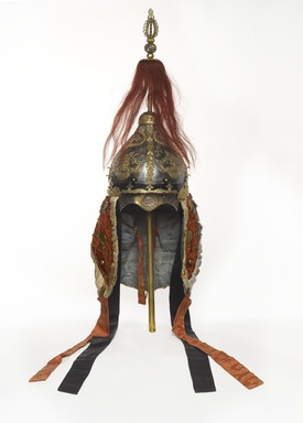 <em>Suit of Armor (Helmet and Coat)</em>, 18th-19th century. Silver, gilt-copper, leather, lacquer, nephrite jade, suede, silk brocade, horsehair, fur, velvet, helmet: 27 in. (68.6 cm). Brooklyn Museum, Museum Collection Fund, 22.1971a-b. Creative Commons-BY (Photo: , 22.1971a_front_PS9.jpg)