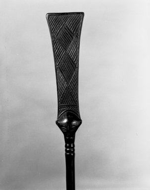 Luba. <em>Ceremonial Staff (Kibango)</em>, 19th century. Wood, iron, 61 1/4 x 4 3/4 x 1 1/2 in. (155.6 x 12.1 x 3.8 cm). Brooklyn Museum, Museum Expedition 1922, Robert B. Woodward Memorial Fund, 22.211. Creative Commons-BY (Photo: Brooklyn Museum, 22.211_detail_bw.jpg)
