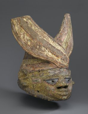 Yorùbá. <em>Gelede Mask</em>, late 19th or early 20th century. Wood, pigment, 11 3/4 x 9 1/4 x 12 in.  (29.8 x 23.5 x 30.5 cm). Brooklyn Museum, Museum Expedition 1922, Robert B. Woodward Memorial Fund, 22.227. Creative Commons-BY (Photo: Brooklyn Museum, 22.227_PS2.jpg)