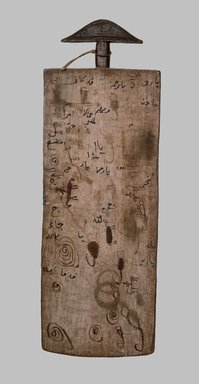 <em>Qur'anic Writing Board</em>, late 19th or early 20th century. Wood, ink, string, 31 7/8 x 11 x 1 in. (81 x 27.9 x 2.5 cm). Brooklyn Museum, Museum Expedition 1922, Robert B. Woodward Memorial Fund, 22.231. Creative Commons-BY (Photo: Brooklyn Museum, 22.231_side1_SL1.jpg)