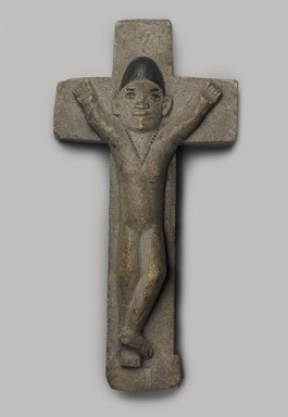 Kongo. <em>Crucifix</em>, late 19th or early 20th century. Stone, pigment, 13 x 6 1/2 x 2 1/2 in. (33.0 x 16.6 x 6.4 cm). Brooklyn Museum, Museum Expedition 1922, Robert B. Woodward Memorial Fund, 22.240. Creative Commons-BY (Photo: Brooklyn Museum, 22.240_PS9.jpg)