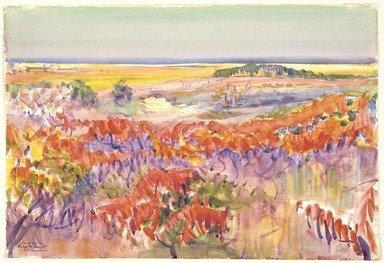 "Dodge MacKnight (American, 1860-1950). <em>Cape Cod in Autumn</em>. Watercolor, 15 1/4"" x 22 1/8"". Brooklyn Museum, Frank Sherman Benson Fund and Frederick Loeser Fund, 22.55 (Photo: Brooklyn Museum, 22.55_SL3.jpg)"