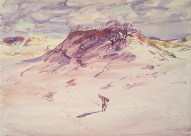Dodge MacKnight (American, 1860-1950). <em>Sand Dunes, Cape Cod</em>, before 1921. Transparent watercolor with touches of opaque watercolor over graphite on white, moderately thick, rough-textured wove paper, 17 1/4 x 24 1/16 in. (43.8 x 61.1 cm). Brooklyn Museum, Frank Sherman Benson Fund and Frederick Loeser Fund, 22.57 (Photo: Brooklyn Museum, 22.57.jpg)