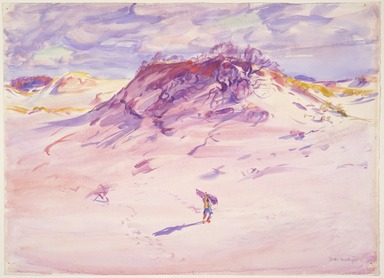 Dodge MacKnight (American, 1860-1950). <em>Sand Dunes, Cape Cod</em>, before 1921. Transparent watercolor with touches of opaque watercolor over graphite on white, moderately thick, rough-textured wove paper, 17 1/4 x 24 1/16 in. (43.8 x 61.1 cm). Brooklyn Museum, Frank Sherman Benson Fund and Frederick Loeser Fund, 22.57 (Photo: , 22.57_SL3.jpg)