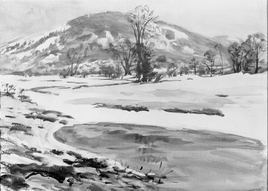 Dodge MacKnight (American, 1860-1950). <em>The Thaw</em>. Watercolor Brooklyn Museum, Frank Sherman Benson Fund and Frederick Loeser Fund, 22.58 (Photo: Brooklyn Museum, 22.58_acetate_bw.jpg)