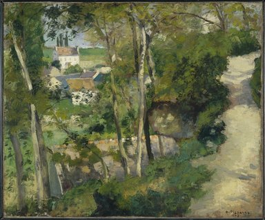 Camille Jacob Pissarro (French, 1830-1903). <em>The Climb, Rue de la Côte-du-Jalet, Pontoise (Chemin montant, rue de la Côte-du-Jalet, Pontoise)</em>, 1875. Oil on canvas, 21 1/4 x 25 7/8 in. (54 x 65.7 cm). Brooklyn Museum, Purchased with funds given by Dikran G. Kelekian, 22.60 (Photo: Brooklyn Museum, 22.60_colorcorrected_SL1.jpg)