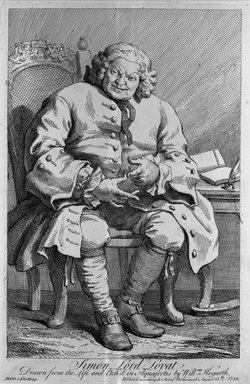 William Hogarth (British, 1697-1764). <em>Simon Lord Lovat</em>, 1746. Line engraving on laid paper, 14 3/16 x 9 1/4 in. (36.1 x 23.5 cm). Brooklyn Museum, Bequest of Samuel E. Haslett, 22.64 (Photo: Brooklyn Museum, 22.64_acetate_bw.jpg)