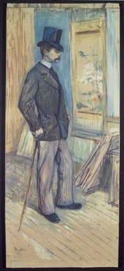 Henri de Toulouse-Lautrec (French, 1864-1901). <em>Portrait of M. Paul Sescau (Portrait de M. Paul Sescau)</em>, 1891. Oil and gouache on cardboard, 32 3/4 x 14 1/4in. (83.2 x 36.2cm). Brooklyn Museum, Museum Surplus Fund and purchased with funds given by Dikran G. Kelekian, 22.66 (Photo: Brooklyn Museum, 22.66_SL3.jpg)