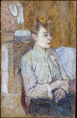 Henri de Toulouse-Lautrec (French, 1864-1901). <em>Woman Smoking a Cigarette</em>, 1890. Oil paint, opaque watercolor, and graphite over charcoal on commercial paper board, 18 1/2 x 11 3/4 in.  (47 x 29.8 cm). Brooklyn Museum, Museum Surplus Fund and purchased with funds given by Dikran G. Kelekian, 22.67 (Photo: Brooklyn Museum, 22.67_SL1.jpg)