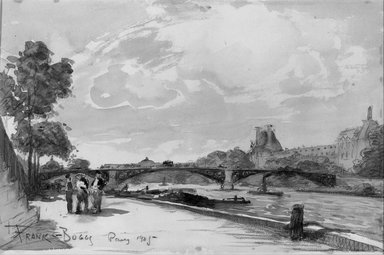Frank Myers Boggs (American, 1855-1926). <em>Along the Seine</em>. Watercolor Brooklyn Museum, Museum Collection Fund, 22.79 (Photo: Brooklyn Museum, 22.79_acetate_bw.jpg)