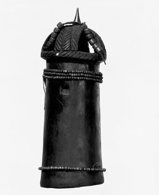 Luba. <em>Twin Figure</em>, late 19th or early 20th century. Wood, glass beads, leather tongs, fiber, metal pins, 7 7/8 x 2 3/4 x 2 3/4 in. (20 x 7 x 7 cm). Brooklyn Museum, Brooklyn Museum Collection, 22.815. Creative Commons-BY (Photo: Brooklyn Museum, 22.815_bw.jpg)