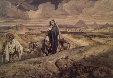 Alexandre-Gabriel Decamps (French, 1803-1860). <em>The Flight into Egypt (Fuite en Égypte)</em>, 1850-1860. Watercolor on wove paper mounted on paperboard, 11 13/16 x 16 1/2 in. (30 x 41.9 cm). Brooklyn Museum, Gift of Frank L. Babbott, 22.86 (Photo: Brooklyn Museum, 22.86.jpg)