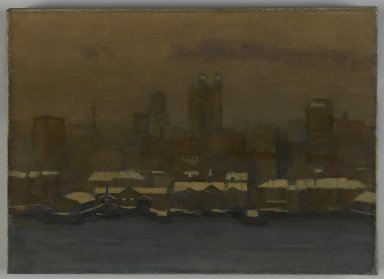 Hamilton Easter Field (American, 1873-1922). <em>River Front, New York, in Winter</em>, ca. 1912. Oil on canvas, 12 13/16 x 17 15/16 in. (32.5 x 45.6 cm). Brooklyn Museum, Gift of Robert Laurent, 22.89 (Photo: Brooklyn Museum, 22.89_PS1.jpg)