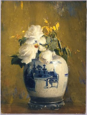 Anna S. Fisher (American, 1873-1942). <em>The White Roses</em>, before 1922. Opaque watercolor, graphite, touches of pastel, and touches of transparent watercolor on cream, moderately thick, slightly textured wove paper mounted to wood pulp paperboard, 24 15/16 x 19 in. (63.3 x 48.3 cm). Brooklyn Museum, Gift of Frank L. Babbott, 22.90 (Photo: Brooklyn Museum, 22.90_SL3.jpg)