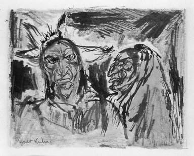 Walt Kuhn (American, 1877-1949). <em>Indian Heads</em>. Watercolor Brooklyn Museum, Gift of Mrs. Meredith Hare and other friends, 22.97. © artist or artist's estate (Photo: Brooklyn Museum, 22.97_bw.jpg)