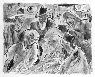 Walt Kuhn (American, 1877-1949). <em>Poker Game</em>. Watercolor Brooklyn Museum, Gift of Mrs. Meredith Hare and other friends, 22.98. © artist or artist's estate (Photo: Brooklyn Museum, 22.98_bw.jpg)
