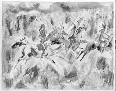 Walt Kuhn (American, 1877-1949). <em>Riding Indians</em>. Watercolor Brooklyn Museum, Gift of Mrs. Meredith Hare and other friends, 22.99. © artist or artist's estate (Photo: Brooklyn Museum, 22.99_bw.jpg)