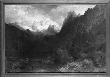Carl Jungheim (German, 1830-1886). <em>Dachstein</em>, ca. 1863. Oil on canvas, 40 1/8 x 61 3/16 in.  (101.9 x 155.4 cm). Brooklyn Museum, Bequest of Elmira Shearman, 23.104 (Photo: Brooklyn Museum, 23.104_framed_bw.jpg)