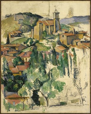 Paul Cézanne (French, 1839-1906). <em>The Village of Gardanne (Le Village de Gardanne)</em>, 1885-1886. Oil and conté crayon on canvas, 36 1/4 x 28 13/16 in. (92.1 x 73.2 cm). Brooklyn Museum, Ella C. Woodward Memorial Fund and Alfred T. White Fund, 23.105 (Photo: Brooklyn Museum, 23.105_SL1.jpg)