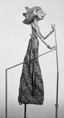 <em>Puppet</em>. Wood, pigment, cloth, fiber, 9 13/16 × 28 3/4 in. (25 × 73 cm). Brooklyn Museum, Brooklyn Museum Collection, 23.106. Creative Commons-BY (Photo: Brooklyn Museum, 23.106_acetate_bw.jpg)