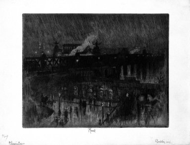 Joseph Pennell (American, 1860-1926). <em>Rainy Night, Charing Cross Station</em>, 1886. Etching, plate: 6 7/8 x 8 15/16 in. (17.5 x 22.7 cm). Brooklyn Museum, Brooklyn Museum Collection, 23.108 (Photo: Brooklyn Museum, 23.108_bw.jpg)