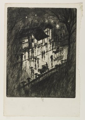 Joseph Pennell (American, 1860-1926). <em>Rainy Night, Charing Cross Shops</em>, 1903. Etching in black ink on thin, handmade, cream-colored laid paper (with a watermark), Sheet: 13 3/4 x 9 1/2 in. (34.9 x 24.1 cm). Brooklyn Museum, Brooklyn Museum Collection, 23.129 (Photo: Brooklyn Museum, 23.129_PS1.jpg)