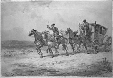 Charles Cattermole (British, 1832-1900). <em>Stage Coach</em>. Watercolor, 9 7/8 x 14 9/16 in.  (25.1 x 37.0 cm). Brooklyn Museum, Bequest of Samuel E. Haslett, 23.233 (Photo: Brooklyn Museum, 23.233_cropped_bw.jpg)