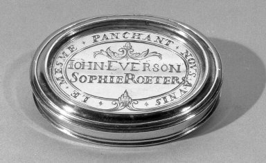 <em>Oval Snuff-box</em>, ca. 1730. Silver, height x length: 9/16 x 2 3/8 in. (1.5 x 6 cm). Brooklyn Museum, Gift of Mrs. Celeste Herbert Chasmer, 23.242. Creative Commons-BY (Photo: Brooklyn Museum, 23.242_acetate_bw.jpg)