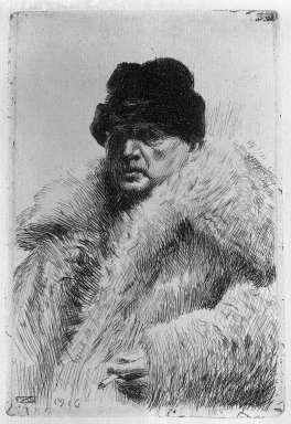 Anders Zorn (Swedish, 1860-1920). <em>Self Portrait</em>, 1916. Etching on laid paper Brooklyn Museum, Gift of Edward C. Blum, 23.245 (Photo: Brooklyn Museum, 23.245_glass_bw.jpg)