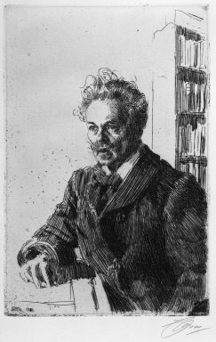 Anders Zorn (Swedish, 1860-1920). <em>August Strindberg</em>, 1910. Etching on laid paper, 11 3/4 x 7 11/16 in. (29.8 x 19.6 cm). Brooklyn Museum, Gift of Edward C. Blum, 23.249 (Photo: Brooklyn Museum, 23.249_bw.jpg)