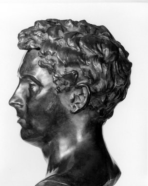 Olin Levi Warner (American, 1844-1896). <em>Bust of J. Alden Weir</em>, 1880. Bronze, 22 x 11 1/8 x 9 7/8 in. (55.9 x 28.3 x 25.1 cm). Brooklyn Museum, Gift of Frank L. Babbott, 23.254. Creative Commons-BY (Photo: Brooklyn Museum, 23.254_bw.jpg)