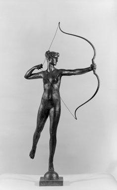 Augustus Saint-Gaudens (American, born Ireland, 1848-1907). <em>Diana of the Tower</em>, 1895. Gilded Bronze, 40 7/8 x 20 7/8 x 15 3/4 in. (103.8 x 53 x 40 cm). Brooklyn Museum, Robert B. Woodward Memorial Fund, 23.255. Creative Commons-BY (Photo: Brooklyn Museum, 23.255_bw.jpg)