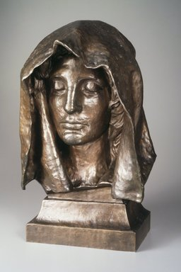 Augustus Saint-Gaudens (American, born Ireland, 1848-1907). <em>Head from the Adams Memorial</em>, modeled 1891, copyrighted 1908. Bronze, 19 5/16 x 12 x 7 1/2 in. (49.1 x 30.5 x 19.1cm). Brooklyn Museum, Robert B. Woodward Memorial Fund, 23.256. Creative Commons-BY (Photo: Brooklyn Museum, 23.256.jpg)