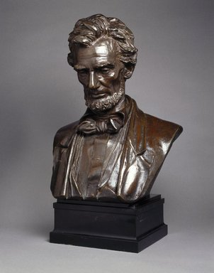 Augustus Saint-Gaudens (American, born Ireland, 1848-1907). <em>Bust of Abraham Lincoln</em>, 1922. Bronze, 28 x 17 x 14 in. (71.1 x 43.2 x 35.6 cm). Brooklyn Museum, Robert B. Woodward Memorial Fund, 23.257. Creative Commons-BY (Photo: Brooklyn Museum, 23.257_SL1.jpg)