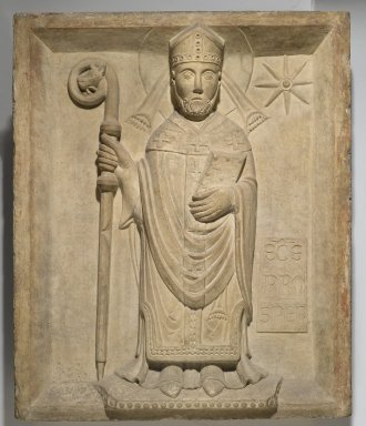 Italian, Emilian. <em>Saint Prosper (San Prospero)</em>, 19th or early 20th century. Marble, 30 x 24 1/2 x 3 3/4 in., 148.5 lb. (76.2 x 62.2 x 9.5 cm, 67.4kg). Brooklyn Museum, Gift of De Motte, Inc., 23.25. Creative Commons-BY (Photo: Brooklyn Museum, 23.25_PS2.jpg)