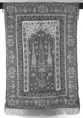 <em>Prayer Hanging, Mosaic Panel</em>, 18th/19th century. Applique and embroidery, 45 1/2 x 62in. (115.6 x 157.5cm). Brooklyn Museum, Museum Collection Fund, 23.285. Creative Commons-BY (Photo: Brooklyn Museum, 23.285_bw.jpg)