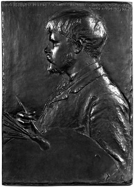 Augustus Saint-Gaudens (American, born Ireland, 1848-1907). <em>Jules Bastien-Lepage</em>, Modelled 1880. Bronze, wood frame, frame: 24 3/8 x 18 1/2 x 1 in. (61.9 x 47 x 2.5 cm). Brooklyn Museum, Robert B. Woodward Memorial Fund, 23.288.3. Creative Commons-BY (Photo: Brooklyn Museum, 23.288.3_front_bw.jpg)