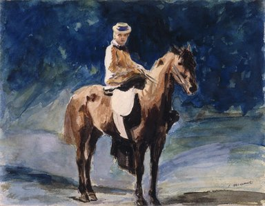 Édouard Manet (French, 1832-1883). <em>The Equestrienne (L'Amazone)</em>, ca. 1875-1876. Watercolor and graphite on tan wove paper, 8 3/16 x 10 5/8 in. (20.8 x 27 cm). Brooklyn Museum, Gift of Frank L. Babbott, 23.45 (Photo: Brooklyn Museum, 23.45_reference_SL1.jpg)