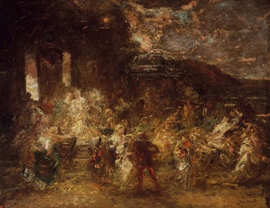 Adolphe Joseph Thomas Monticelli (French, 1824-1886). <em>Fête champêtre</em>, ca. 1865. Oil on panel, 21 7/16 x 26 in. (54.5 x 66 cm). Brooklyn Museum, Gift of Mrs. William A. Putnam, 23.46 (Photo: Brooklyn Museum, 23.46.jpg)