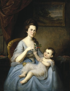 Charles Willson Peale (American, 1741-1827). <em>Mrs. David Forman and Child</em>, ca. 1785. Oil on canvas, 51 x 39 3/8 in. (129.5 x 100 cm). Brooklyn Museum, Carll H. de Silver and Museum Collection Fund, 23.51 (Photo: Brooklyn Museum, 23.51_reference_SL1.jpg)