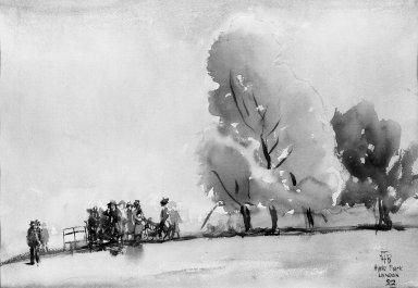 Herbert B. Tschudy (American, 1874-1946). <em>Hyde Park, London</em>, 1922. Watercolor, 9 3/16 x 14 in. (25.0 x 35.6 cm). Brooklyn Museum, Museum Collection Fund, 23.66 (Photo: Brooklyn Museum, 23.66_acetate_bw.jpg)