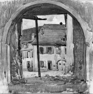 Hugues de Beaumont (French, 1874-1947). <em>Demolition of Thann</em>, 1919. Watercolor, 12 9/16 x 12 9/16 in.  (31.9 x 31.9 cm). Brooklyn Museum, Gift of David Belasco, 23.73 (Photo: Brooklyn Museum, 23.73_acetate_bw.jpg)