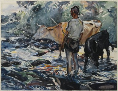 John Edward Costigan (American, 1888-1972). <em>Boy with Cows</em>, ca. 1922. Watercolor Brooklyn Museum, Museum Collection Fund, 23.81 (Photo: Brooklyn Museum, 23.81_PS1.jpg)