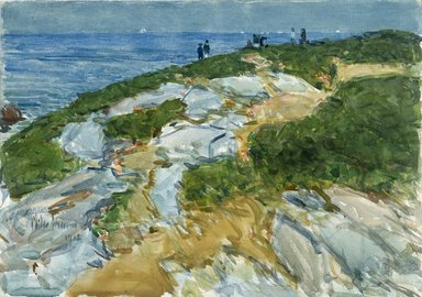 Frederick Childe Hassam (American, 1859-1935). <em>Sunday Morning, Appledore</em>, 1912. Watercolor over graphite on cream, thick, moderately textured wove paper, 13 15/16 x 19 15/16 in. (35.4 x 50.6 cm). Brooklyn Museum, Museum Collection Fund, 24.104 (Photo: Brooklyn Museum, 24.104_SL1.jpg)