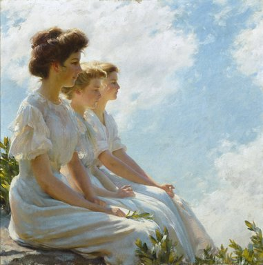 Charles Courtney Curran (American, 1861-1942). <em>On the Heights</em>, 1909. Oil on canvas, 30 1/16 x 30 1/16 in. (76.4 x 76.4 cm). Brooklyn Museum, Gift of George D. Pratt, 24.110 (Photo: Brooklyn Museum, 24.110_colorcorrected_SL1.jpg)