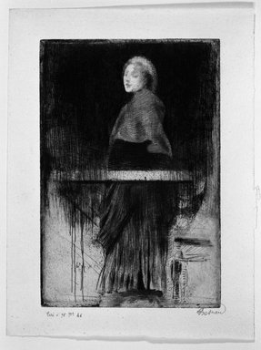 Albert Besnard (French, 1849-1934). <em>La Femme à  la Pèlerine</em>, n.d. Etching, dry-point, roulette on laid paper, 9 3/16 x 6 1/4 in. (23.4 x 15.8 cm). Brooklyn Museum, Museum Collection Fund, 24.224 (Photo: Brooklyn Museum, 24.224_bw.jpg)