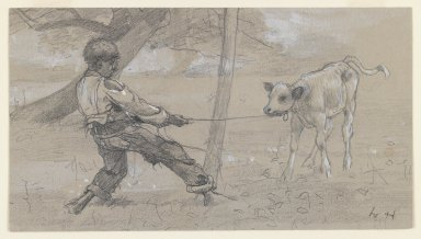 "Winslow Homer (American, 1836-1910). <em>Study for ""The Unruly Calf,""</em> ca. 1875. Graphite and white opaque watercolor on blue-grey, moderately thick, moderately textured wove paper, Sheet: 4 11/16 x 8 1/2 in. (11.9 x 21.6 cm). Brooklyn Museum, Museum Collection Fund, 24.241 (Photo: Brooklyn Museum, 24.241_IMLS_PS3.jpg)"