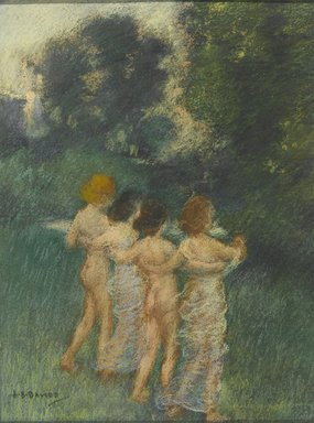 Arthur B. Davies (American, 1862-1928). <em>Cherubian Children</em>, 1900. Pastel applied both wet and dry over black watercolor with touches of crayon or colored pencil, 12 x 9 1/16 in. (30.5 x 23 cm). Brooklyn Museum, Gift of Frank L. Babbott, 24.246 (Photo: Brooklyn Museum, 24.246_PS2.jpg)